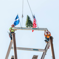 Browning Davis Team Celebrates Topping Out at 16 Tech